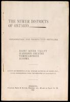 The newer districts of Ontario; information for prospective settlers: Rainy River Valley, Wabigoon country, Temiscamingue, Algoma. Report of inspection by Duncan Anderson, under instructions from the Minister of Agriculture