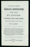 Valuable real estate for sale by auction on Tuesday, June 19, 1860 ... at the commercial sale rooms, James St