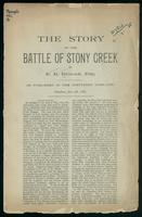 The story of the battle of Stony Creek (as published in the Spectator, June, 1873)