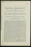 Pacific Railway; speech delivered in the House of Commons on Thursday and Friday, 15th and 16th April, 1880. From the official report of the debates