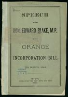 Speech ... on the Orange Incorporation Bill, 17th March, 1884