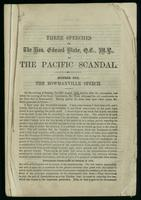 Three speeches on the Pacific Scandal