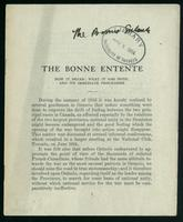 The Bonne entente : how it began, what it has done, and its immediate programme