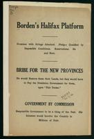Borden's Halifax platform; promises with strings attached; pledges qualified by impossible conditions ...