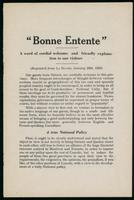 Bonne entente; a word of cordial welcome and friendly explanation to our visitors