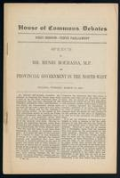 Speech on provincial government in the north-west. Ottawa, Tuesday, March 28, 1905