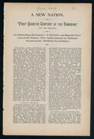 [A new nation; or, 'The first quarter-century of the Dominion'. Being the president's inaugural address. By Rev. George Bryce ... Given before the [Manitoba College Literary] Society November 3rd 1893