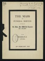 The mass and funeral service of the late Rt. Hon. Sir Wilfrid Laurier at the Basilica, Ottawa, 22nd February, 1919