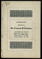 Address delivered by Mr. Francis H. Clergue at the complimentary banquet tendered him by the citizens of Sault Ste. Marie, Michigan, at Hotel Iroquois, Thursday evening, February 21st, 1901