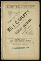 Tariff re-adjustment. Canada's national policy.  Mr. C.C. Colby's great speech on tariff revision.  House of Commons: March, 1878. To which is added an open letter from Mr. Colby and the amendment moved by Sir John Macdonald on a re-adjustment of the domi