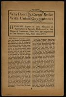 Why Hon. T.A. Crerar broke with Union Government; Hansard report of late Minister of Agriculture's speech, delivered in the House of Commons, June 10th ... 1919