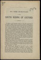 To the electors of the South Riding of Oxford