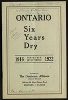 Ontario six years dry, 1916, September seventeenth, 1922