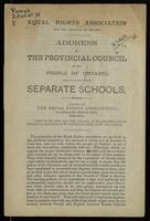 Address by the provincial council to the people of Ontario, dealing mainly with separate schools