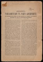 Parliamentary vs. Party Government: an address delivered at the opening of Queen's University, October 16th, 1891; and A political problem, a paper read before the Royal Society