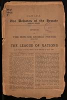 Speech on The League of Nations, in the Senate of Canada, Ottawa, on the 26th day of April, 1922