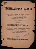 Timber administration. Liberals sold timber by public tender to the highest bidder up to December, 1907.  Now it is reserved at an upset price and sold by public auction.  Conservatives looted it.  Divided more of the timber lands among themselves in one