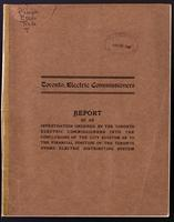 Report of an investigation ordered by the Toronto Electric Commissioners into the conclusions of the City Auditor as to the financial position of the Toronto Hydro-Electric Distributing System