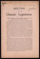 Meeting of the Ontario legislature; memorandum by the Attorney-General to the Lieutenant-Governor in Council