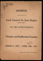 Address ... to his constituents of Victoria and Haliburton countries, at Lindsay, Ont., April, 1917