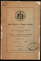Call to the Bar of the Province of Ontario. Admission as solicitor of the Supreme Court of Judicature of Ontario (ordinary cases) Osgoode Hall, Toronto, 1911