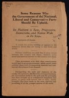 Some reasons why the government of the National Liberal and Conservative Party should be upheld.  [1920]