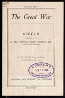 The great war; speech delivered ... at the Queen's Hall, London, on September 19th, 1914