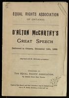 Speech delivered in Ottawa, December 12th, 1889