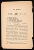 Address to the churches from the following organizations, the Single Tax Association, the Trades and Labor Council [and others.