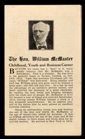 The Hon. William McMaster : childhood, youth and business career.