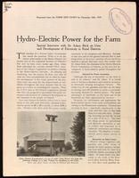 Hydro-electric power for the farm; special interview with Sir Adam Beck on uses and development of electricity in rural districts.