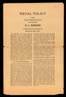 Naval policy of the Liberal Conservative Party, as set forth ... in the House of Commons on November 24th, 1910.
