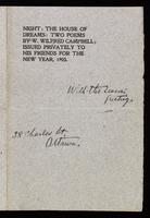 Night : The house of dreams : two poems / by W. Wilfred Campbell ; issued privately to his friends for the New Year, 1903.