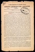 Organization of Women's Committee / Canadian Reconstruction Association