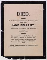 Died, in the township of Cavan, on Wednesday, Oct. 23rd, 1895, Jane Bellamy, relict of the late Wm. Mullen ...