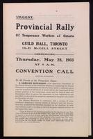 Provincial rally of temperance workers of Ontario, Guild Hall, Toronto ... Convention call