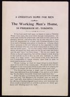 A Christian home for men; the Working Men's Home, 59 Frederick St., Toronto