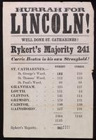 Hurrah for Lincoln! : Well done St. Catharines! : Rykert's majority 241 ...