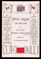 Final order of the day, by Major General Sir Archibald Cameron Macdonell, commanding 1st Canadian Division