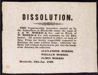 Dissolution : the copartnership heretofore carried on by the subscribers at Brockville under the name of the A. & W. Morris & Co., and at Perth of W. Morris & Co. will terminate on the 21st instant