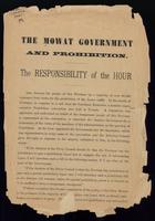 The Mowat government and prohibition. The responsibility of the House