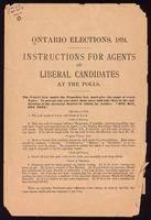 Ontario elections, 1894; instructions for agents of Liberal candidates at the polls