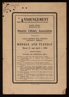 Announcement : second annual meeting of the Ontario Library Association : to be held in Castle Memorial Hall, McMaster University, Toronto, Monday and Tuesday, March 31 and April 1, 1902