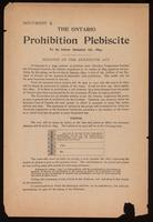 The Ontario prohibition plebiscite to be taken January 1st, 1894. Synopsis of the Plebiscite Act