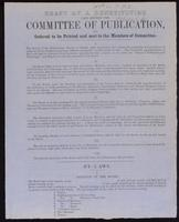 Draft of a constitution laid before the Committee of Publication, and ordered to be printed and sent to the members of committee