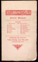 Private musicale : Patronesses ... : Cedarhurst, 581 Jarvis St. : Friday evening, June 13th, 1890, at half-past eight o'clock
