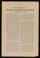To the delegates of the Western Liberal convention, Winnipeg, August, 1917