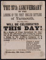 The 97th anniversary of the landing of the first English settlers of Yarmouth : (9th June, 1761, ) will be celebrated this day!