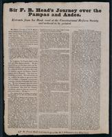 Sir F.B. Head's journey over the Pampas and Andes : extracts from his book read at the Constitutional Reform Society and ordered to be printed