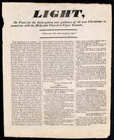 Light, or facts for the information and guidance of all true Christians : in connexion with the Methodist Church in Upper Canada